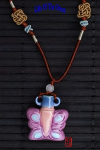 "Aromatherapy Necklace – ""Pink Butterfly"" mini Amphora and Jade bead thread"